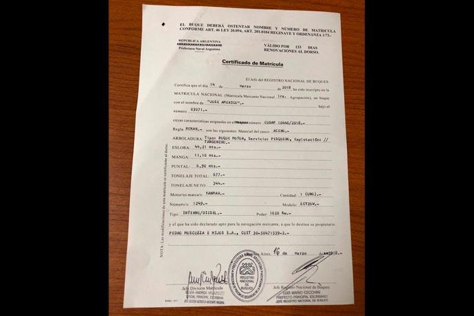 Revista Puerto - Certificado de matricula del BP Jose Americo de Moscuzza