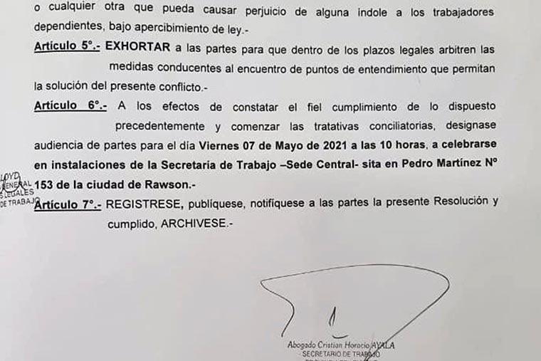Revista Puerto - Chubut - Conciliacion obligatoria para flota amarilla SOMU y SiCoNaRA - 02