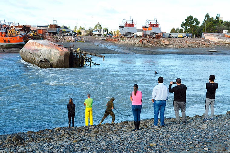 Se demora la remoción del barco hundido en el puerto de Rawson